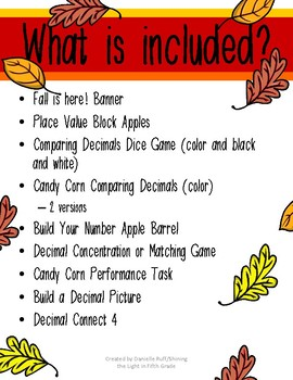 Fall is HERE! Read, Write, and Compare Decimals