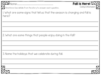 Fall is Here Close Reading Practice