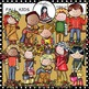 Fall kids clip art. Color and B&W