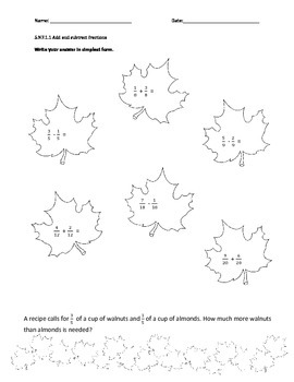 Fall leaves Adding and Subtracting Fractions