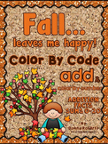 Fall leaves me happy! color by code color by number sums 0-20