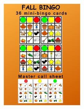 Fall mini bingo cards