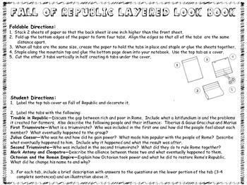 Fall of Rome Republic - Interactive Notebook Look Book