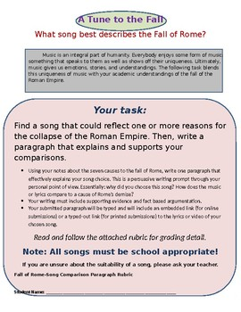 Fall of Rome-Song Comparison Paragraph