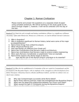 Fall of Rome Standards Based Guiding Questions