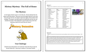 Fall of Rome task and essay