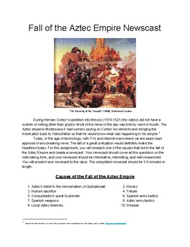 Fall of the Aztec Empire Newscast Writing Assignment