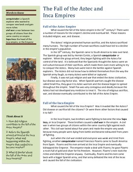 Fall of the Aztec and Inca Empires (Reading and Comprehension Questions)
