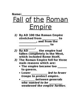 Fall of the Roman Empire Powerpoint Worksheet