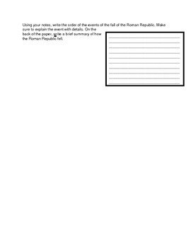 Fall of the Roman Republic Sequencing Graphic Organizer