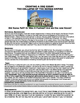 Fall of the Western Roman Empire- Students Create DBQ