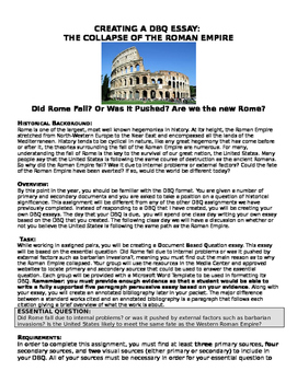 Fall of the Western roman Empire- Inquiry Lesson plan- students make DBQ