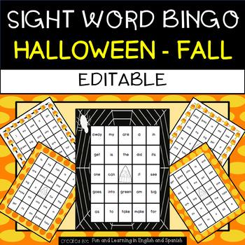 Halloween: Sight Word Bingo - Editable