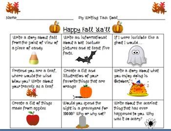 Fall or Halloween Writing Choice Board