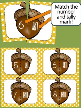 Fall Math - Matching Game {Sequential Numbers, Tally Marks}