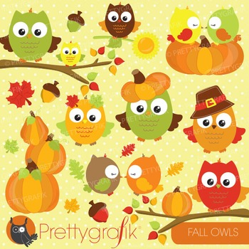 Fall owls clipart commercial use, vector graphics, digital - CL693