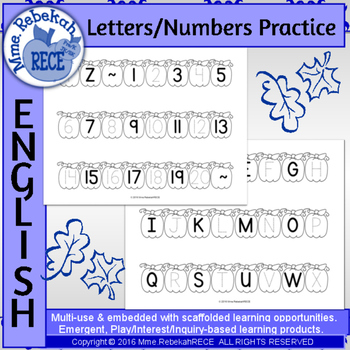 Fall pumpkin letters and numbers activity