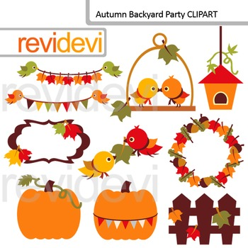 Fall season Clip Art / Autumn Backyard Party (birds, pumpkin, leaves)
