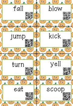 Fall theme Read the Room - Nouns, Verbs and Adjectives with QR codes