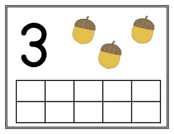 Fall theme play doh number mat 1-10 with tens frame