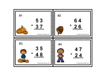 Fall 2-digit Addition (with regrouping) for centers, Scoot and math the room