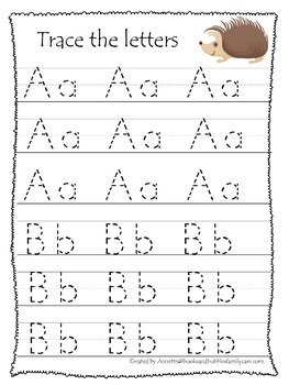 Fall themed A-Z tracing preschool educational worksheets.  Daycare alphabet.