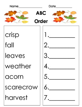 Fall themed ABC Order worksheet