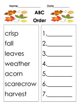 Fall themed ABC Order worksheet
