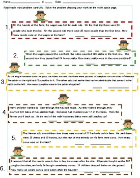 Fall themed Addition & Subtraction Word Problems