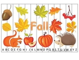 Fall themed Alphabet Sequence Puzzle preschool educational game for daycare.