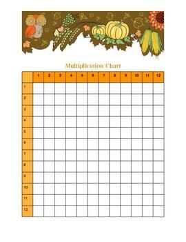 Fall themed Blank multiplication chart