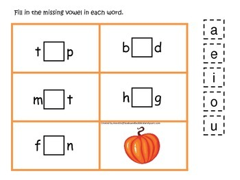 Fall themed CVC activity #5 preschool educational game for daycare.