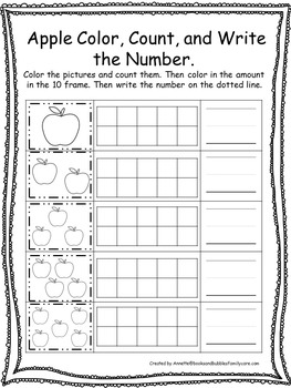 Fall themed Color, Count, and Write the Number. Preschool-Kindergarten Math.