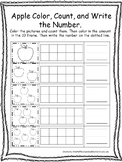 Fall themed Color, Count, and Write the Number. Preschool-