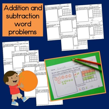 Fall themed Math for First Grade: word problems, graphing and measurement