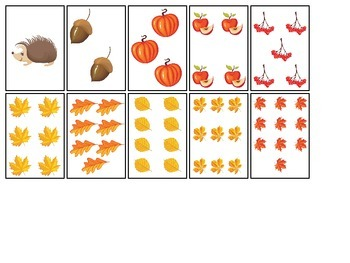 Fall themed Number Matching Cards preschool educational activity for children.