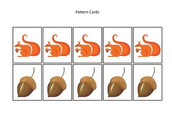 Fall themed Pattern Cards #2 preschool educational game for homeschool.