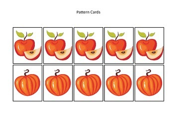 Fall themed Pattern Cards #3 preschool educational game for homeschool.
