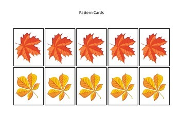 Fall themed Pattern Cards #4 preschool educational game for homeschool.