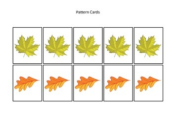 Fall themed Pattern Cards #5 preschool educational game for homeschool.