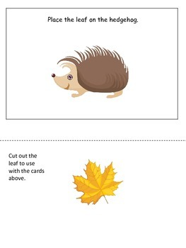 Fall themed Positional Cards preschool educational activity for homeschool.