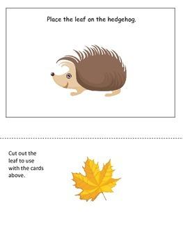 Fall themed Positional Cards preschool educational activity for homeschool.