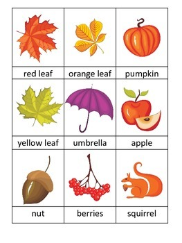Fall themed Three Part Matching preschool educational game for daycare.