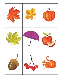 Fall themed Three Part Matching preschool educational game