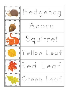 Fall themed Trace the Word preschool educational worksheets. Daycare curriculum.