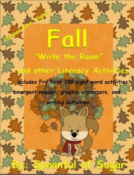 """Fall themed """"Write the Room"""" and other Literacy and Math A"""