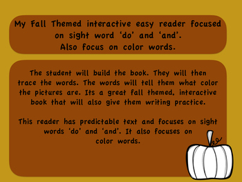 Fall themed interactive easy reader with focus on sight wo