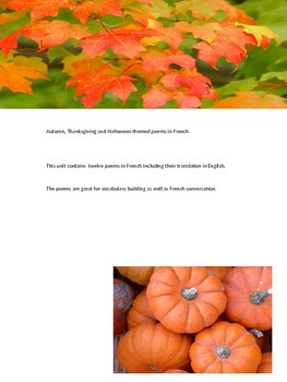Fall themed poems in French including Thanksgiving and Halloween