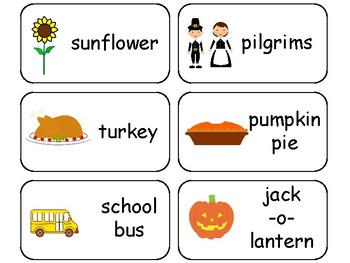 Fall themed printable Picture Word Flashcards. Preschool flashcards.