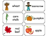 Fall themed printable Picture Word Flashcards. Preschool f